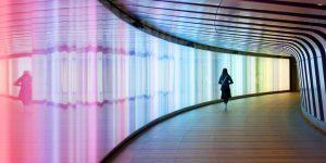 Kings Cross light wall tunnel