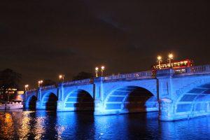 Illuminated Kingston bridge
