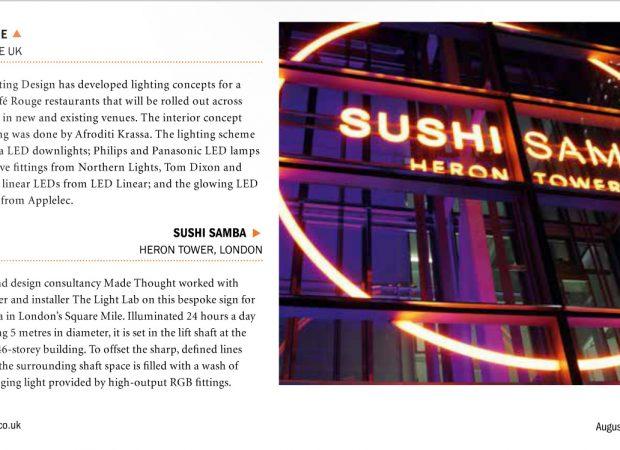 SushiSamba Bespoke lighting featured in Lighting Magazine