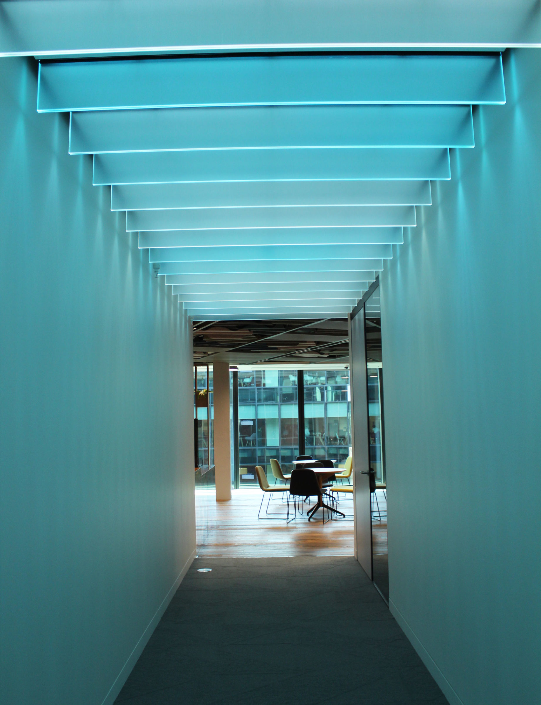 Bespoke glass fin SPI controlled ceiling light feature | Bespoke lighting design | The Light Lab