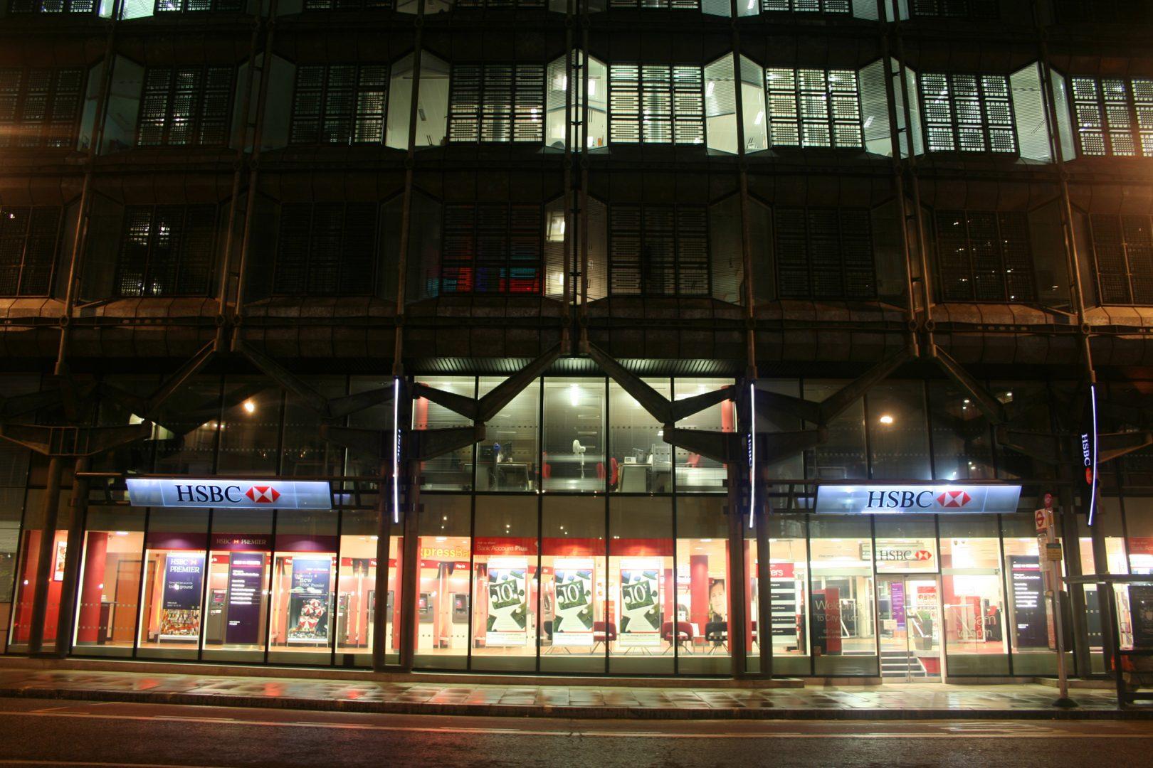 HSBC, London   Brand lighting   The Light Lab