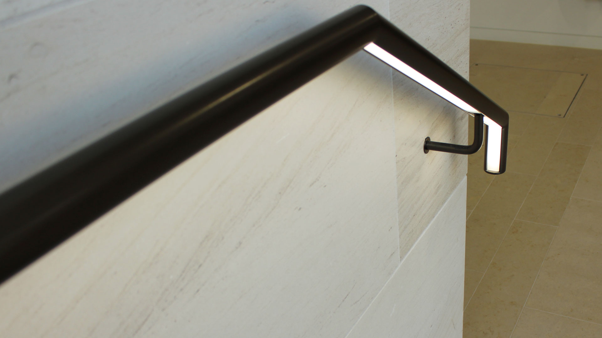 Private school lighting | Illuminated handrail Glowrail | The Light Lab