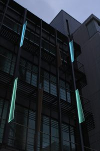 Aurora House, Ealing | Bespoke lit fins | Office facade lighting | The Light Lab