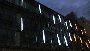 Aurora House, Ealing   Bespoke lit fins   Office facade lighting   The Light Lab