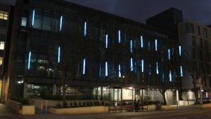 Aurora House, Ealing | Bespoke lit fins | Office facade lighting | The Light Lab