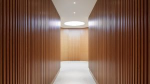 circular coffer lighting transition space timber walls nulty