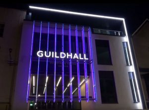 Facade lighting Exeter Guildhall Shopping Centre