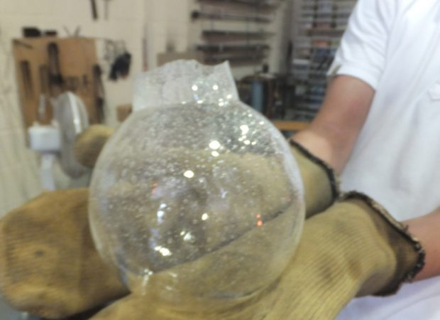 Glassblowing a bespoke pendant lighting feature