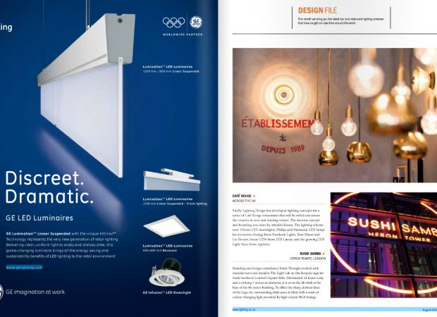 SushiSamba Bespoke lighting featured in Lighting Magazine