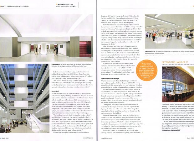 Lighting Magazine March 2014 feature on PWC