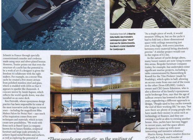 Bespoke staircase lighting feature for Private yacht, Monaco in FT