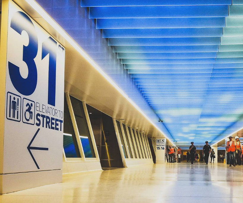 Penn Station NYC | Bespoke Spectraglass lit fins | Bespoke lighting manufacture